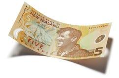 Le Nouvelle-Zélande argent des cinq dollars Images stock