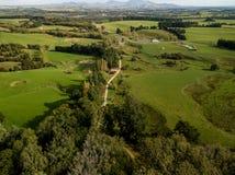 Le Nouvelle-Zélande et terres cultivables aériens et indigènes de Martinborough Photo stock