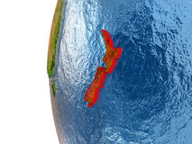 Le Nouvelle-Zélande sur le globe illustration de vecteur