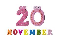 Le 20 novembre, sur un fond blanc, des nombres et des lettres Images stock
