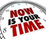 Le Now est votre heure de briller la reconnaissance d'horloge que vous méritez Images stock