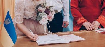 Le nozze di firma alla moda della sposa e dello sposo di nozze registrano moderno fotografia stock libera da diritti