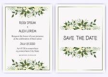 Le nozze invitano, invito, conservano la progettazione di carta della data con l'anemone elegante del giardino della lavanda illustrazione vettoriale