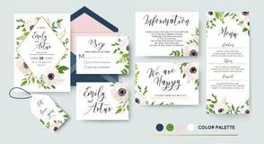 Le nozze invitano, menu, rsvp, grazie identificare i risparmi la carta di data D illustrazione di stock