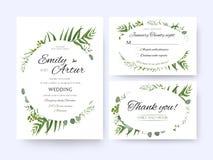 Le nozze invitano, rsvp dell'invito vi ringraziano cardare il gre floreale di vettore Immagine Stock