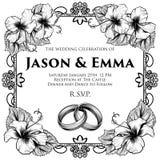 Le nozze legano l'invito di nozze dei fiori dell'ibisco illustrazione di stock