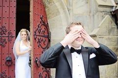 Le nozze in primo luogo guardano Immagini Stock Libere da Diritti