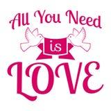 Le nozze/tutta che abbiate bisogno di sono amore/etichetta/distintivo Fotografie Stock Libere da Diritti