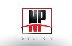 Le NP N P Logo Letters avec des couleurs et le bruissement rouges et noirs illustration libre de droits