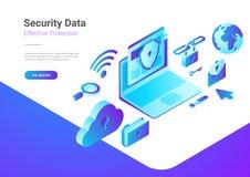 Le nuage d'ordinateur portable d'antivirus de protection des données de sécurité est Image stock