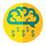 Le nuage de cerveau font l'icône d'affaires de pluie d'argent Image stock