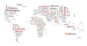 Le nuage de Word dans une forme de carte contient tous les capitaux du monde Photos stock