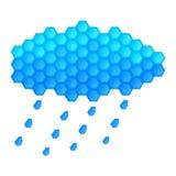 Le nuage et la pluie se laisse tomber sur un fond blanc Photo stock