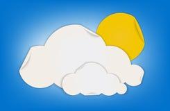 Le nuage et le soleil forment l'icône de temps faite par le papier plié Images libres de droits