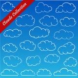 Le nuage forme la collection Découpes de nuage de bande dessinée réglées Photographie stock libre de droits