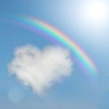 Le nuage pelucheux aiment un coeur Photos stock