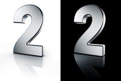 Le numéro 2 sur l'étage blanc et noir Images stock
