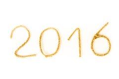 Le numéro 2016 de la corde sur un fond blanc Thème de Christmass Image libre de droits