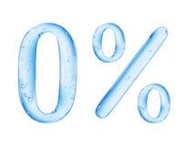 Le numéro 0 et le signe de pour cent est fait d'eau sur le fond blanc Images libres de droits