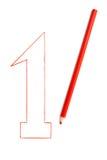 Le numéro un écrit dans le crayon rouge Photographie stock