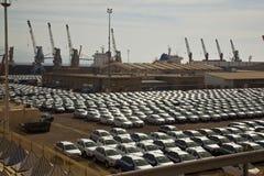 Le nuove automobili hanno allineato nel porto di Eilat (Israele) Immagini Stock