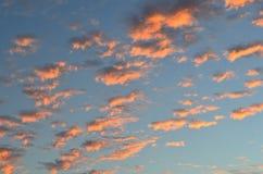 le nuvole nel tramonto gradiscono il cotone Fotografia Stock Libera da Diritti