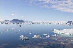 Le nuvole riflesse nel suono antartico con ghiaccio galleggiano Fotografia Stock Libera da Diritti