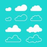 Le nuvole vector isolato sul fondo del cielo blu Fotografia Stock Libera da Diritti