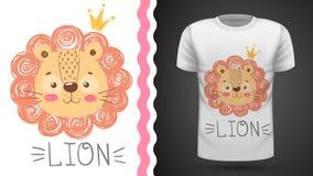 Le?o bonito - ideia para o t-shirt da c?pia ilustração stock