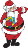 Le och blinka Santa Claus med presenten Royaltyfri Foto