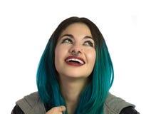 Le och lycklig flicka som uppåt ser royaltyfria foton