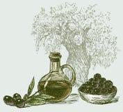 Le olive e l'olio d'oliva Fotografie Stock