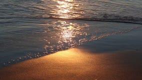 Le onde che arrivano alla spiaggia con il sole hanno riflesso archivi video