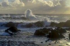 Le onde che attraversano la lava oscilla al tramonto sull'isola immagine stock