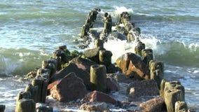 Le onde della rottura del Mar Baltico su un vecchio frangiflutti di legno archivi video