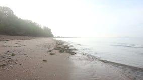 Le onde si battono nella banca di mare della sabbia all'alba video d archivio