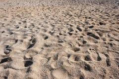Le orme modellano sulla sabbia ad una luce calda del tramonto fotografia stock