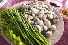 Le ostriche serviscono con stile tailandese di cucina immagini stock libere da diritti