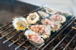 Le ostriche sono cucinate sulla griglia Fotografia Stock
