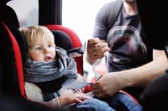 Le père de Moyen Âge aide son fils d'enfant en bas âge à attacher la ceinture sur le siège de voiture Images libres de droits