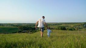 Le père et la fille partagent l'amour tenant des mains marchant ensemble dans le domaine d'herbe élevé images libres de droits