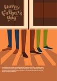 Le père heureux Day Family Holiday, les jambes masculines entrent dans la carte de voeux de concept de célébration de bar Photographie stock