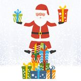 Le père noël avec des cadeaux de Noël illustration de vecteur