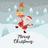 Le père noël avec des cadeaux Forêt d'hiver de carte de Noël, la neige Image libre de droits