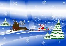 Le père noël avec des cerfs communs et des présents de Noël Illustration de Vecteur