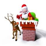 Le père noël avec des elfes dans la cheminée Photo libre de droits