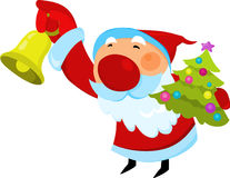 Le père noël avec l'arbre de Noël et la cloche de tintement Photo stock