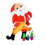 Le père noël avec l'illustration d'arbre de Noël Images libres de droits