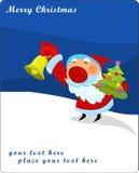 Le père noël avec la cloche de tintement et l'arbre de Noël Image stock