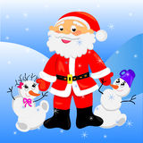Le père noël avec Noël de snowman.card Photo stock